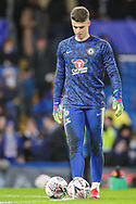 Chelsea goalkeeper Kepa Arrizabalaga (1) warms up prior to the The FA Cup fourth round match between Chelsea and Sheffield Wednesday at Stamford Bridge, London, England on 27 January 2019.