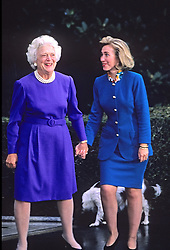 First lady Barbara Bush greets Hillary Rodham Clinton at the White House in Washington, D.C, USA, following the election on November 19, 1992. Photo by Howard L. Sachs/CNP/ABACAPRESSC.OM
