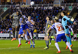 Wes Morgan (ENG) of Leicester City heads a shot over - Photo mandatory by-line: Rogan Thomson/JMP - 07966 386802 - 14/04/2014 - SPORT - FOOTBALL - Madejski Stadium, Reading - Reading v Leicester City - Sky Bet Football League Championship.