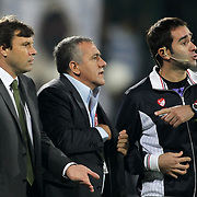Bursaspor's coach Ertugrul Saglam, Referee Cagatay Sahan during their Turkish soccer super league match Bursaspor between Fenerbahce at Ataturk Stadium in Bursa Turkey on Saturday, 20 October 2012. Photo by TURKPIX