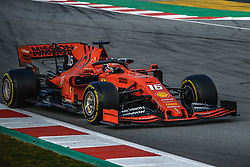 February 19, 2019 - Barcelona, Catalonia, Spain - CHARLES LECLERC (MON) from team Ferrari drives in his in his SF90 during day two of the Formula One winter testing at Circuit de Catalunya (Credit Image: © Matthias OesterleZUMA Wire)