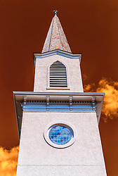 A tight shot of the Steeple outside St.Paul's Lutheran Church in New Melle.