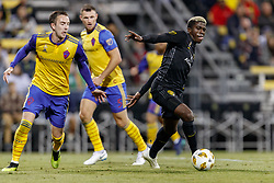 September 22, 2018 - Columbus, OH, U.S. - COLUMBUS, OH - SEPTEMBER 22: Columbus Crew forward Gyasi Zerdes (11) breaks free in the MLS regular season game between the Columbus Crew SC and the Colorado Rapids on September 22, 2018 at Mapfre Stadium in Columbus, OH. The Crew won 2-1. (Photo by Adam Lacy/Icon Sportswire) (Credit Image: © Adam Lacy/Icon SMI via ZUMA Press)