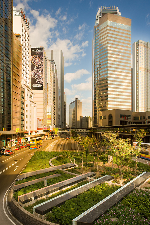 Hong Kong, China - November 15, 2008: Skyline of buildings at Connaught Road in Chung Wan (Central District).