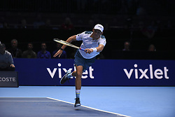 November 13, 2017 - London, United Kingdom - Bob Bryan of the United States in action in the Doubles match against Jamie Murray of Great Britain and Bruno Soares of Brazil during day two of the Nitto ATP World Tour Finals at O2 Arena, London on November 13, 2017. (Credit Image: © Alberto Pezzali/NurPhoto via ZUMA Press)