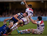 Leicester Tigers Michael Fitzgerald is tackled by Bath Rugby's Elliott Stooke<br /> <br /> Photographer Bob Bradford/CameraSport<br /> <br /> Gallagher Premiership Round 11 - Bath Rugby v Leicester Tigers - Sunday 30th December 2018 - The Recreation Ground - Bath<br /> <br /> World Copyright © 2018 CameraSport. All rights reserved. 43 Linden Ave. Countesthorpe. Leicester. England. LE8 5PG - Tel: +44 (0) 116 277 4147 - admin@camerasport.com - www.camerasport.com