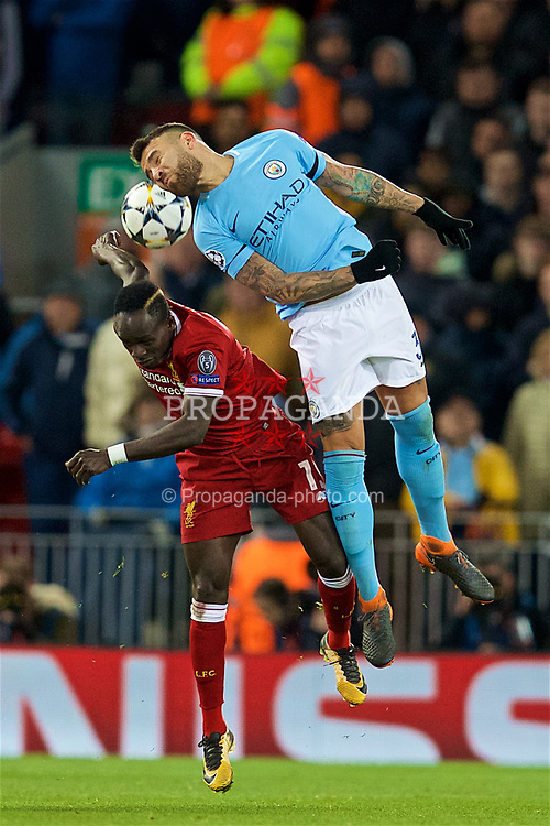 LIVERPOOL, ENGLAND - Wednesday, April 4, 2018: Liverpool's Sadio Mane and Manchester City's Nicolas Otamendi during the UEFA Champions League Quarter-Final 1st Leg match between Liverpool FC and Manchester City FC at Anfield. (Pic by David Rawcliffe/Propaganda)