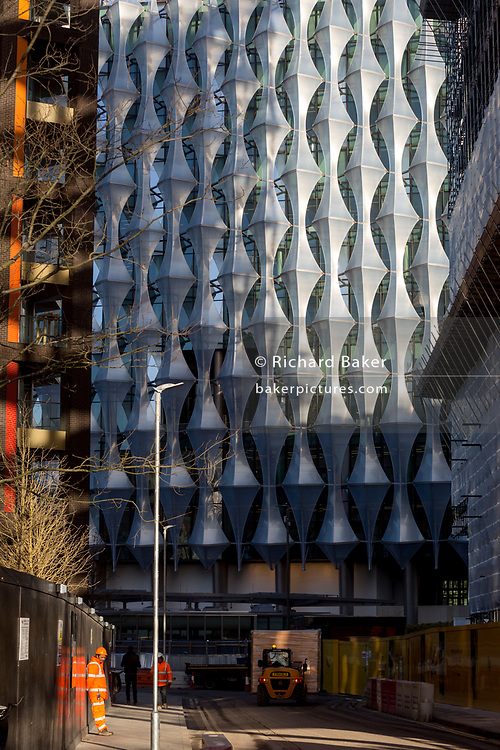 Construction work beneath the Embassy at Nine Elms in south London, on 16th January 2018, in London, England. On the day when the consulate opened for public business (visa applications etc.)  after its controversial move from Grosvenor Square in central London to the south bank.