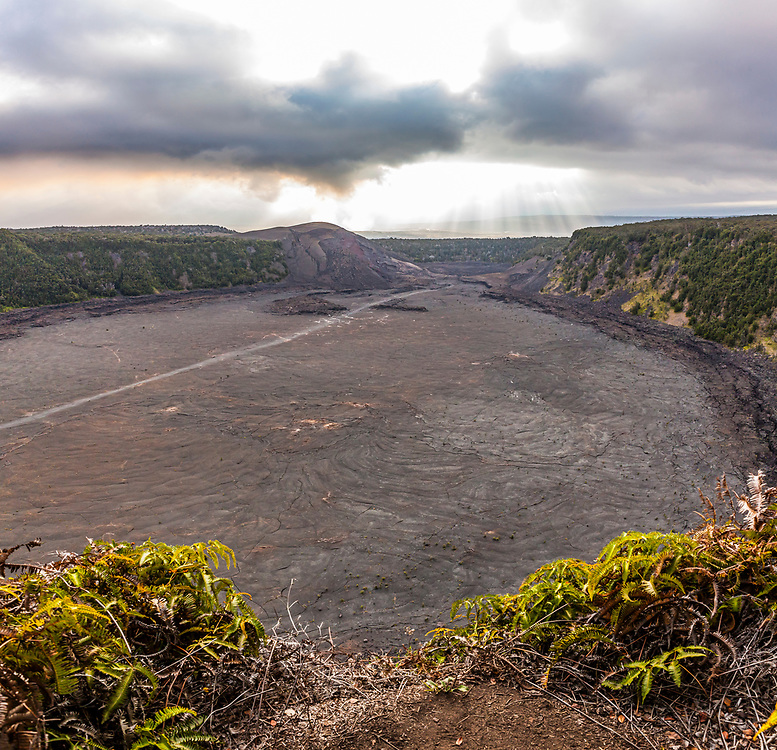 The crater floor of Kilauea Iki Crater  and Pu'u Pua'i (Gushing Hill) with the steaming Kilauea crater in the distance, April, 2017 as seen from the Iki crater rim, Hawai'i Volcanoes National Park, Hawaii, USA.