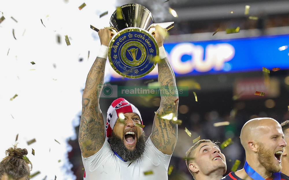 July 26, 2017 - Santa Clara, CA, USA - Santa Clara, CA - Wednesday July 26, 2017: Tim Howard and the U.S. Men's national team celebrate winning the 2017 Gold Cup Championship by defeating Jamaica 2-1 in the Final 2017 Gold Cup Championship by defeating Jamaica 2-1 in the Final during the 2017 Gold Cup Final Championship match between the men's national teams of the United States (USA) and Jamaica (JAM) at Levi's Stadium. (Credit Image: © Bob Drebin/ISIPhotos via ZUMA Wire)