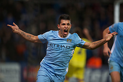 18.10.2011, City of Manchester Stadion, Manchester, ENG, UEFA CL, Gruppe A, Manchester City (ENG) vs FC Villarreal (ESP), im Bild Manchester City's Sergio Aguero celebrates scoring the second goal against against Villarreal CF // during UEFA Champions League group A match between Manchester City (ENG) vs FC Villarreal (ESP) at City of Manchester Stadium, Manchaster, United Kingdom on 18/10/2011. EXPA Pictures © 2011, PhotoCredit: EXPA/ Propaganda Photo/ David Rawcliff +++++ ATTENTION - OUT OF ENGLAND/GBR+++++