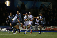 Ruaridh Jackson of Glasgow Warriors © makes a break.  Guinness Pro14 rugby match, Cardiff Blues v Glasgow Warriors Rugby at the Cardiff Arms Park in Cardiff, South Wales on Saturday 16th September 2017.<br /> pic by Andrew Orchard, Andrew Orchard sports photography.