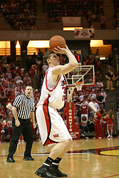 01 January 2006..Michael Vandello sets up for a three pointer...The Southern Illinois Saluki's chewed up the Illinois State Redbirds with 37 points in the 2nd half to beat the birds with a final score of 65-52.  An audience of just over 7500 watched the in Redbird Arena on the campus of Illinois State University in Normal Illinois.....