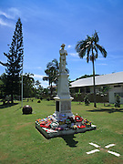 Flower wreaths on statue in ANZAC Park, Port Douglas during ANZAC Day Parade 2009. <br /> <br /> Editions:- Open Edition Print / Stock Image