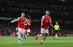 Pierre-Emerick Aubameyang of Arsenal celebrates scoring to make it 1-1 - Mandatory by-line: Arron Gent/JMP - 27/02/2020 - FOOTBALL - Emirates Stadium - London, England - Arsenal v Olympiacos - UEFA Europa League Round of 32 second leg