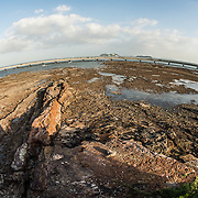 The rocky shoreline of Casco Viejo on the waterfront of Panama City, Panama, on Panama Bay.