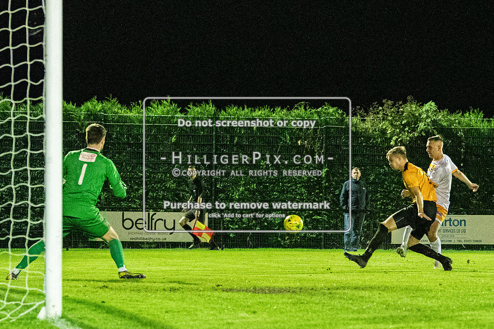 MERSTHAM, UK - OCTOBER 15: Joseph Taylor, of Cray Wanderers FC, takes a shot from wide during the BetVictor Isthmian Premier League match between Merstham and Cray Wanderers at The Whisky Bible Stadium on October 15, 2019 in Merstham, UK. <br /> (Photo: Jon Hilliger)
