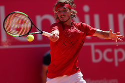 May 5, 2018 - Estoril, Portugal - Stefanos Tsitsipas of Greece returns a ball to Joao Sousa of Portugal during the Millennium Estoril Open ATP 250 tennis tournament semifinal, at the Clube de Tenis do Estoril in Estoril, Portugal on May 5, 2018. (Credit Image: © Pedro Fiuza via ZUMA Wire)