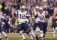 National Footbal League NFL USA<br /> 16.11.2014<br /> Foto: imago/Digitalsport<br /> NORWAY ONLY<br /> <br /> Indianapolis Colts outside linebacker Erik Walden (93) sacks New England Patriots quarterback Tom Brady (12) during the football game between the New England Patriots vs Indianapolis Colts at Lucas Oil Stadium in Indianapolis, IN