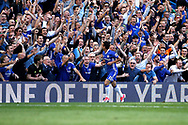 Chelsea Forward Pedro (11) celebrates his goal (score 3-1) during the Premier League match between Chelsea and Sunderland at Stamford Bridge, London, England on 21 May 2017. Photo by Andy Walter.