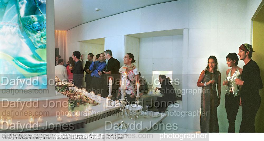 jagger 1. Jade Jagger, Posh Spice & David Beckham.Jade Jagger party. St. Martin's Hotel, London. 20/9/99.  © Copyright Photograph by Dafydd Jones 66 Stockwell Park Rd. London SW9 0DA  Tel 0171 733 0108