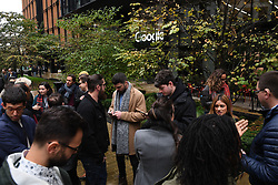 Staff at Google offices in Granary Sqaure, London stage a walkout as a part of a protest over the company's treatment of women.