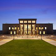 Twilight image of main elevation Lassen County Superior Court House Photos. Photographed for Lionakis, Clark & Sullivan Construction, & Glumac. Susanville, CA. Civic Architecture Examples of Chip Allen Photography.