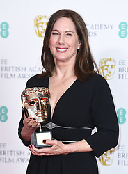 Kathleen Kennedy with her BAFTA Fellowship award at the 73rd British Academy Film Awards held at the Royal Albert Hall, London.. Photo credit should read: Doug Peters/EMPICS