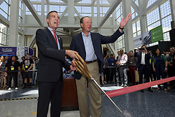 June 13, 2017 - Los Angeles, California, United States - Los Angeles Mayor, Eric Garcetti, (L) and Michael D. Gallagher, president and CEO of the Entertainment Software Association, cut the ribbon during the opening ceremony of the 2017 Electronic Entertainment Expo, E3, in Los Angeles, California on June 13th, 2017. (Photo by: Ronen Tivony) (Credit Image: © Ronen Tivony/NurPhoto via ZUMA Press)