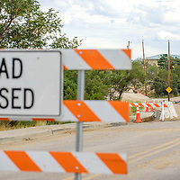 080615  Adron Gardner/Independent<br /> <br /> Signs block off continued construction on Country Club Drive in Gallup Thursday.