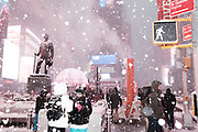 Snow in Times Square, New York, Thursday, Feb. 9, 2017. Photograph by Andrew Hinderaker<br /> 170209_092913_HIA6301.jpg