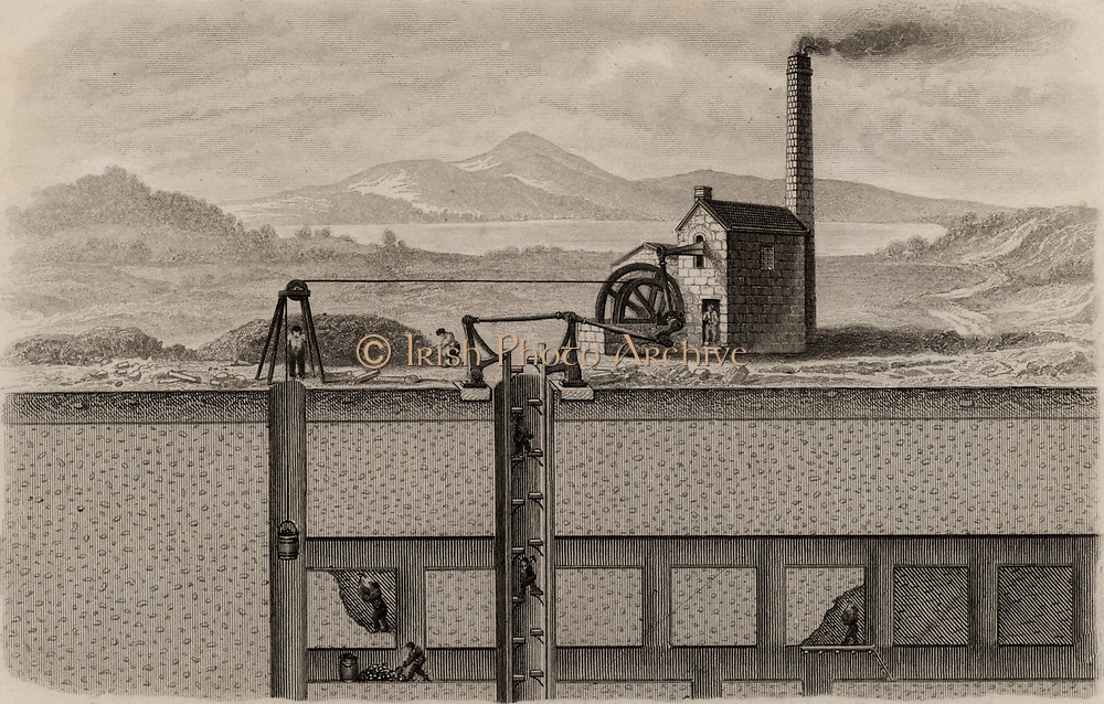 Cross-section of a metalliferous mine in the Devon and Cornwall area of England, showing the engine house containing the steam engine  which powered the man-engine or moving lift and the raising of ore in buckets in buckets in a separate shaft on the left. From 'The Popular Encyclopaedia' (London, 1862). Engraving.