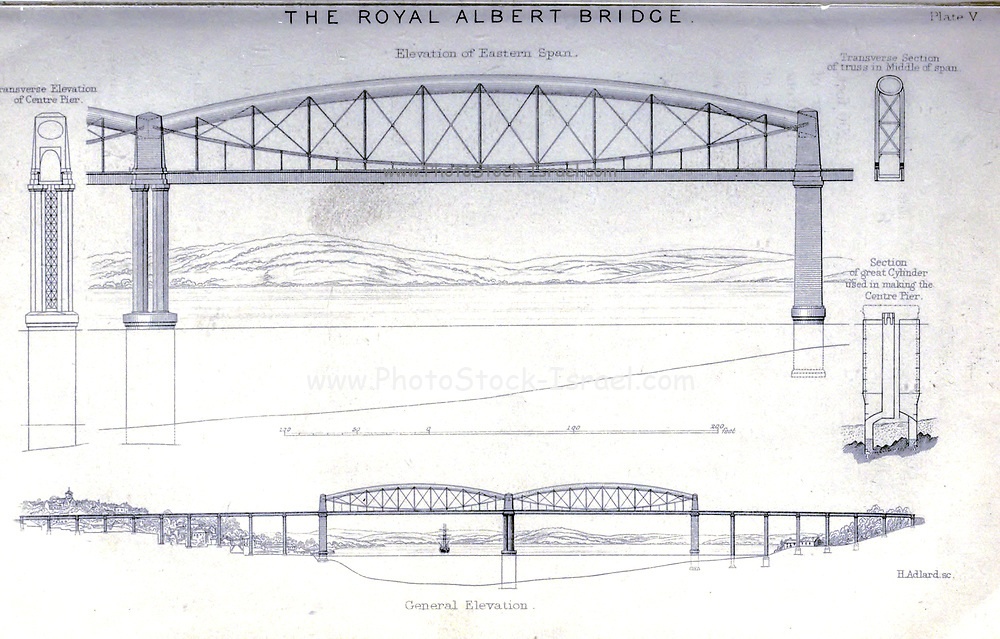 """The Royal Albert Bridge [Saltash Bridge] is a railway bridge which spans the River Tamar in England between Plymouth, Devon and Saltash, Cornwall. from the book The life of Isambard Kingdom Brunel, civil engineer. By Isambard Brunel Published in London by Longmans, Green in 1870. Isambard Kingdom Brunel FRS MInstCE (9 April 1806 – 15 September 1859) was an English civil engineer who is considered """"one of the most ingenious and prolific figures in engineering history,"""" """"one of the 19th-century engineering giants,""""and """"one of the greatest figures of the Industrial Revolution, [who] changed the face of the English landscape with his groundbreaking designs and ingenious constructions."""" Brunel built dockyards, the Great Western Railway (GWR), a series of steamships including the first propeller-driven transatlantic steamship, and numerous important bridges and tunnels. His designs revolutionised public transport and modern engineering."""