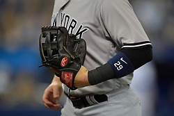 March 29, 2018 - Toronto, ON, U.S. - TORONTO, ON - MARCH 29: New York Yankees Third base Brandon Drury (29) returns to the dugout at a change of innings during the MLB season-opener game between the New York Yankees and the Toronto Blue Jays at Rogers Centre in Toronto, ON., Canada March 29, 2018. (Photo by Jeff Chevrier/Icon Sportswire) (Credit Image: © Jeff Chevrier/Icon SMI via ZUMA Press)