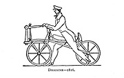 Draisine 1816 [or draisienne, hobby horse, dandy horse (early bicycle)] From Wheels and Wheeling; An indispensable handbook for cyclists, with over two hundred illustrations by Porter, Luther Henry. Published in Boston in  1892