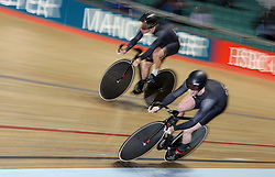 Jason Kenny rides the final lap of the Team Sprint with Philip Hindes (top), on their way to setting the fastest time in qualifying, during day three of the HSBC UK National Track Championships at The National Cycling Centre, Manchester.
