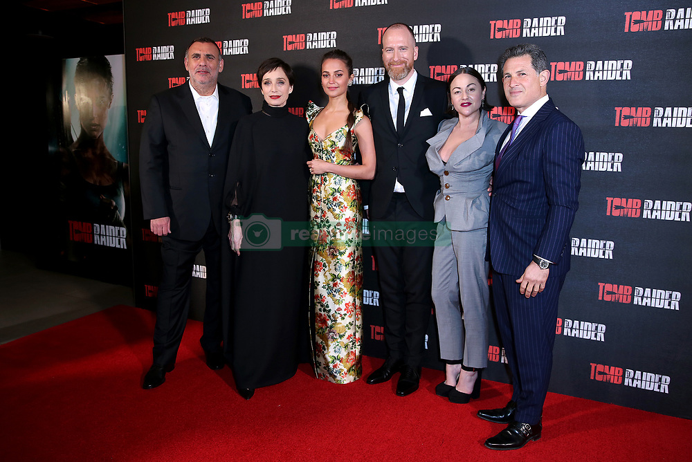 Graham King, Kristin Scott Thomas, Alicia Vikander, Roar Uthaug, Jaime Winstone and Josh Berger attending the Tomb Raider European Premiere held at Vue West End in Leicester Square, London