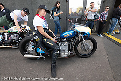 Racer Chatokhine Lolo Laurence of Chartre, France at the Sultans of Sprint 1/8 mile races during the Intermot International Motorcycle Fair. Cologne, Germany. Saturday October 6, 2018. Photography ©2018 Michael Lichter.