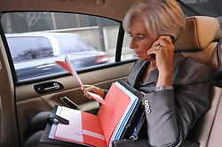 File Photo - French Minister for the Economy, Finance and Employment Christine Lagarde in her car in Paris, France on September 30, 2009. The European Council announced Tuesday that Lagarde, the current head of the International Monetary Fund, had been chosen to succeed Mario Draghi as president of the European Central Bank,, whose eight-year term ends in October. Photo by Elodie Gregoire/ABACAPRESS.COM