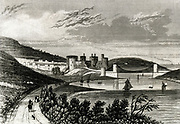 'Conway Castle and Telford's  suspension bridge over the Conway, Wales. First stone of bridge laid in April 1822 and the work finished by the summer of 1826. Engraving c1845.'