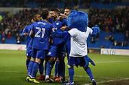 Marko Grujic of Cardiff city © celebrates with his teammates and the bluebird mascot after he scores his teams 2nd goal. EFL Skybet championship match, Cardiff city v Barnsley at the Cardiff city stadium in Cardiff, South Wales on Tuesday 6th March 2018.<br /> pic by Andrew Orchard, Andrew Orchard sports photography.