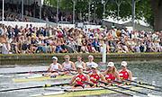 Henley on Thames. United Kingdom. Princess Grace Challenge Cup, POL W4X, . passing through the Stewards Enclousure. 2016. 2016 Henley Royal Regatta, Henley Reach.   [Mandatory Credit Intersport Images]
