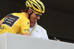 01.07.2012, Luettich, BEL, Tour de France, 1. Etappe Luettich-Seraing, im Bild CANCELLARA Fabian (RadioShack Nissan) schreibt sich ein // during the Tour de France, Stage 1, Liege-Seraing, Belgium on 2012/07/01. EXPA Pictures © 2012, PhotoCredit: EXPA/ Eibner/ Ben Majerus..***** ATTENTION - OUT OF GER *****
