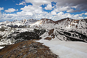 View of the Never Summer Range, particularly Mount Nimbus and Mount Stratus, from the summit of Paprika Peak, Never Summer Wilderness, Colorado.