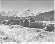 """RMRRC northbound RGS excursion train with people in business car B-21 """"Edna"""" stopped at Lizard Head section house.<br /> RGS  Lizard Head, CO  9/2/1951"""