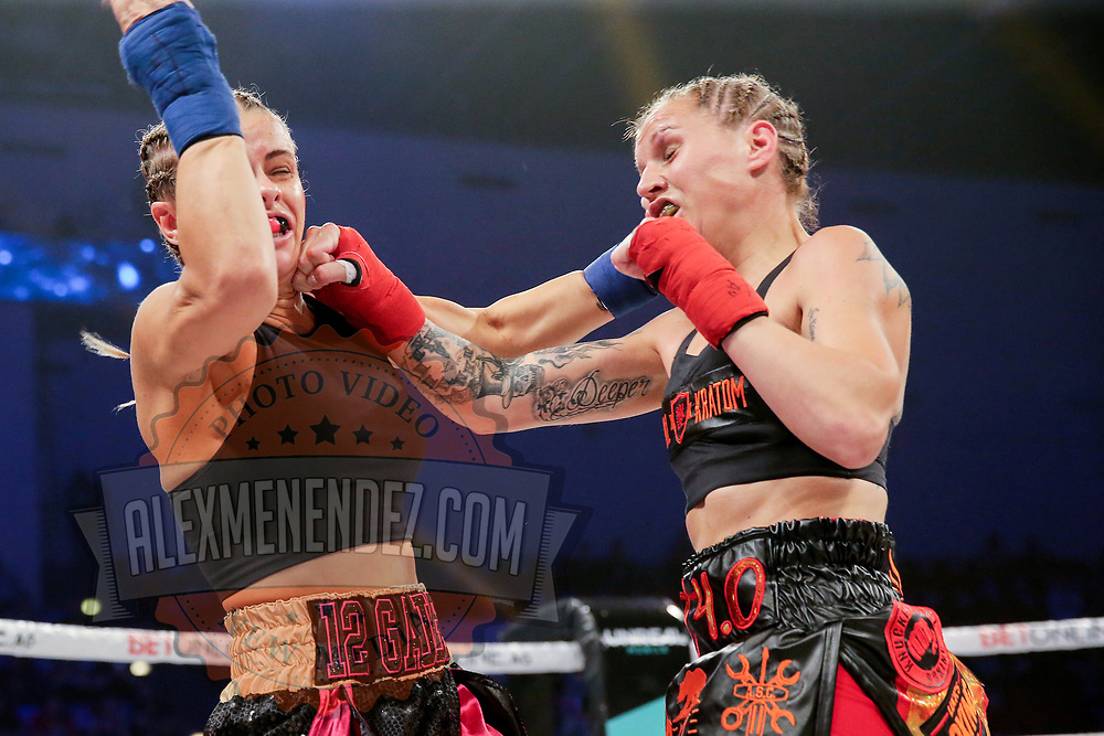 TAMPA, FL - FEBRUARY 06: Paige Van Zant (L) fights Britain Hart during the BKFC KnuckleMania event at RP Funding Center on February 6, 2021 in Tampa, Florida. (Photo by Alex Menendez/Getty Images) *** Local Caption *** Paige Van Zant; Britain Hart