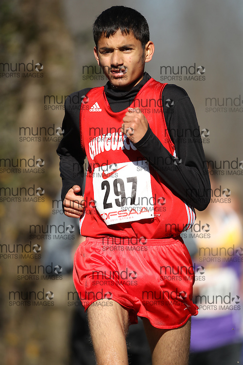 Abhishek Joshi of Chinguacousy competes in the junior boys race at the 2011 OFSAA Cross Country Championships in Ottawa, Ontario, November 5, 2011..GEOFF ROBINS/ Mundo Sport Images