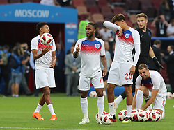 MOSCOW, July 11, 2018  Players of England are seen prior to the 2018 FIFA World Cup semi-final match between England and Croatia in Moscow, Russia, July 11, 2018. (Credit Image: © Yang Lei/Xinhua via ZUMA Wire)