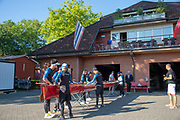"""Lucerne, SWITZERLAND, 12th July 2018, Friday  General View,  Crew Preparing to boat at the """"Seeclub, Luzern"""", """"Seeclub Rowing Club Lucerne"""" """"Lake Lucerne',  Photographer, Karon PHILLIPS,"""
