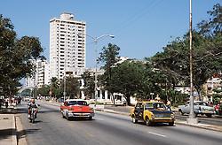 Calle (Street) 23 or La Rampa; a main street in Vedado; Havana; Cuba,